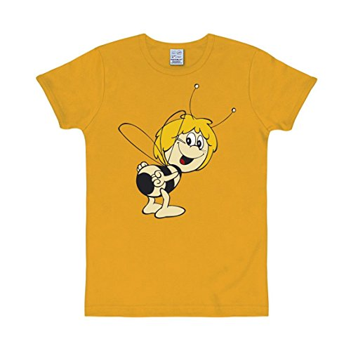 T-Shirt Biene Maja - Rundhals Shirt von LOGOSHIRT - gelb - Originaldesign, Größe XL