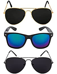 Designer Frames Combo Of 2 Sports Unisex Sunglasses - (Dframes07|44|Multicolor)