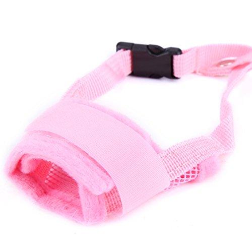 feiling Quick-fit Klettverschluss Hunde Maulkorb Verstellbare Bequem Anti-Beiß Maulkörbe Atmungsaktiv Anti-Bell Hundetraining Korb Mesh Dog Muzzle Anti-bark (XXL, pink) -