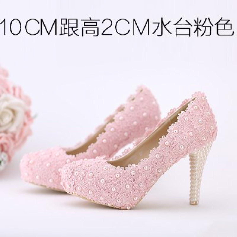 VIVIOO Prom Sandals Wedding scarpe,bianca Flowers Lace Waterproof High-Heeled,Pearl rosso scarpe rosa Coloree Bridal... | Autentico  | Sig/Sig Ra Scarpa