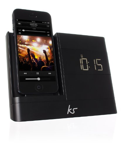 KitSound XDOCK2 Radio Uhr Dockingstation/Ladegerät mit Lightning Anschluss für iPhone 5/5S/5C/SE, iPod Nano 7. Generation and iPod Touch 5. Generation, mit EU Netzstecker - Schwarz Ipod Touch Docking