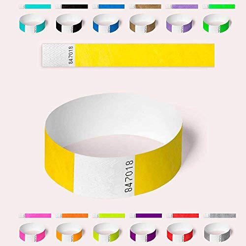 Braccialetti Tyvek, vari colori, confezione da 100 braccialetti AA per feste, sicurezza, festival 19mm Yellow