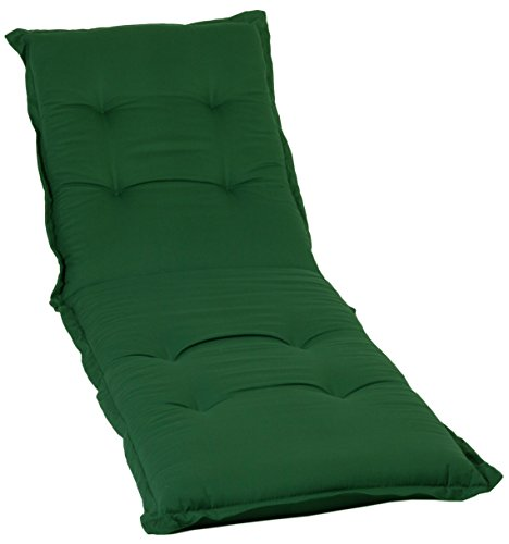 Gartenstuhl-Kissen Saumauflage Nizza von beo, für Rollliegen, 198x62x8cm, AU32 - dunkelgrün