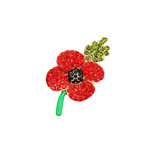 Clest F&H Poppy Brooch Symbolic Crystal Diamante Remembrance Day Poppy Pin  Badge (3#)