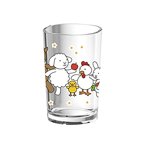 Emsa Gobelet pour Enfants, Motif Ferme, Lavable au lave-vaisselle, Plastique, Transparent/Vert, Kids, 513720