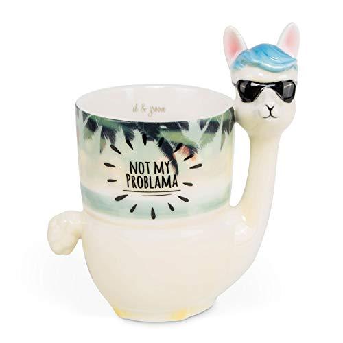 el & groove 3D Lama Tasse Not My Problama, Kaffeetasse 400 ml (480 ml randvoll), Tee-Tasse aus Porzellan im Beach Strand Design, Sonnebrille Sunglasses Alpaka Tasse, Deko Becher, Geschenkidee (Geschenkideen)