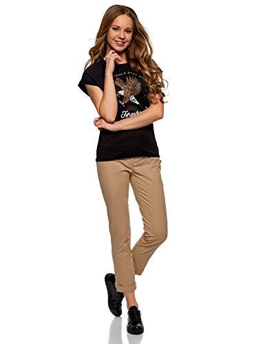 5255a5d821 oodji Ultra Donna Pantaloni Chino con Cintura, Beige, IT 42 / EU 38 / S