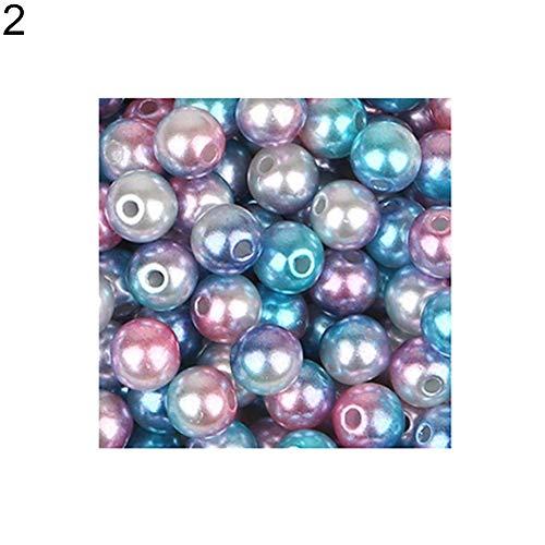 Yibenwanligod 4/6/8/10 mm brillant Fausse Perle Perles avec Trou DIY Bracelet Nail Art Tip Outil de décoration, 2# 4mm