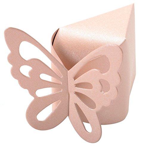 TOOGOO(R) 50 Stueck Schmetterlings-Bevorzugungs-Suessigkeit-Geschenk-Boxen Kuchen Stil Hochzeit Dusche Baby (Rosa) - Baby-dusche-bevorzugung Süßigkeiten