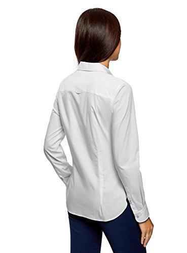 oodji Ultra Damen Hemd Basic mit Brusttasche Weiß (1000N)