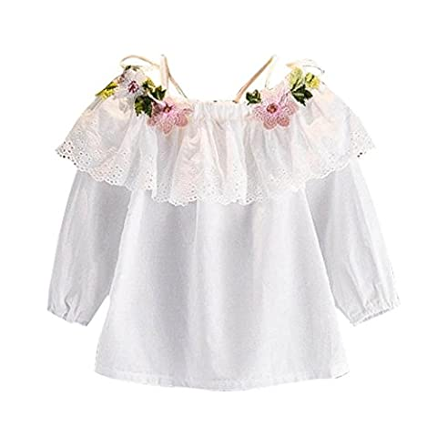 Toddler Kids Baby Girls Blouse Floral Embroidery Clothes Strapless T-Shirt Tops (3-4T, White)