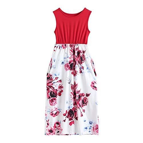 Amphia Babykleidung Kleider,Kinder Kinder Mädchen ärmellose Blumendruck lässig mit Tasche Maxikleid