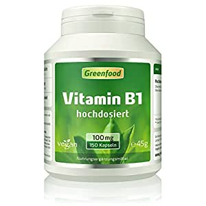 """Vitamin B1, 100 mg, hochdosiert, 150 Vegi-Kapseln – das""""Gute-Laune-Vitamin"""", wichtig bei Stress, Anspannung und starker geistiger Beanspruchung. OHNE künstliche Zusätze. Ohne Gentechnik. Vegan."""