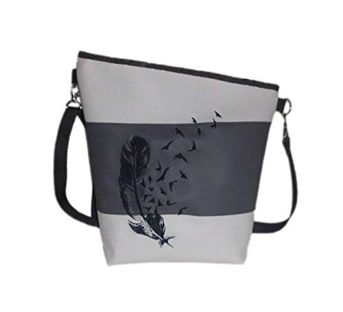 pinkeSterne ☆ Handtasche Umhängetasche Schultertasche Kunstleder Handmade Bestickt Stickerei Handmade Feder Weiß Grau Anthrazit