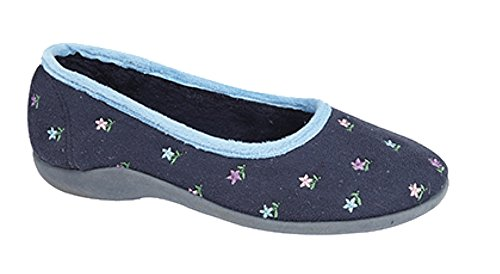 Damen Engel Floral Ballerina Slipper Navy