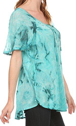 Sakkas Hana Tie Dye Fit Relaxed Broderie mancherons Peasant Blouse Batik / Top Aqua