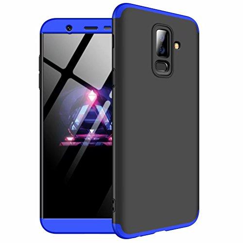Hülle für Samsung Galaxy j8 2018 360 Grad, LaiXin Tempered Glass + Handyhülle Case Cover Ultra Dünn PC Plastik Schutzhülle Anti-Scratch Stoßdämpfende Anti-Schock Schutzhülle - Blau und Schwarz