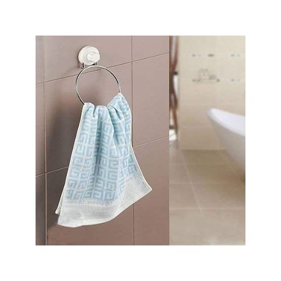 Foolzy Wall-Mounted Towel Ring with Suction Cup Bathroom Organizer