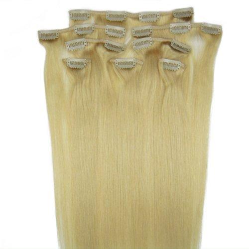 55,9 cm Blond Cendre (# 24) cheveux 100% naturels Remy Hair Lot de 8 extensions capillaires à clipser 100 g poids