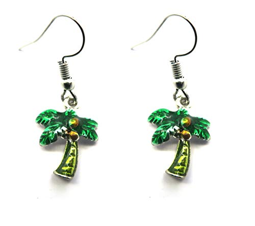 Palmen Ohrringe silber-farben Modeschmuck Ohrhänger - Dschungel-palme