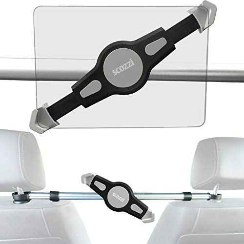 scozzi Kopfstützenhalterung Tablet Auto, KFZ Kopfstützen Halterung Halter Tablethalterung Rücksitze Mitte z.B. kompatibel mit iPad Pro 11 Air mini 4/SAMSUNG Galaxy Tab S6 S5e A E/HUAWEI MediaPad T5 M5