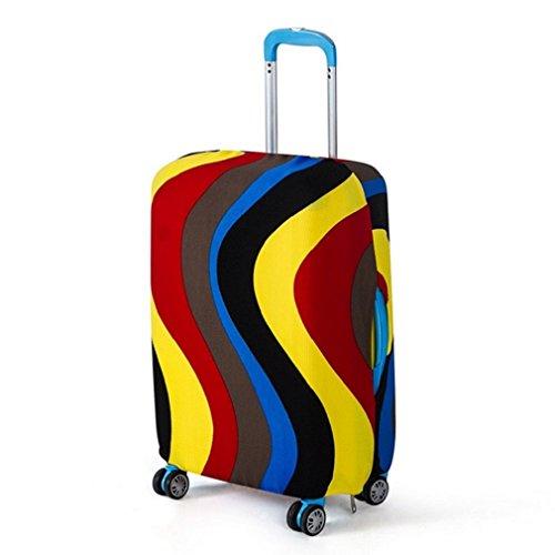 Funda Protectora de Maleta La tela de estiramiento viaje equipaje cubierta Carretilla caso protectora cubierta Verde con el lunar blanco (XL)