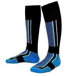 HATCHMATIC Mnner-Winter-warme Thermal Skisocken Thick Cotton Ort Snowboard Radfahren Skifahren Fußball-Socken Thermsocks Beinlinge Socken 2019: BlueXBlack