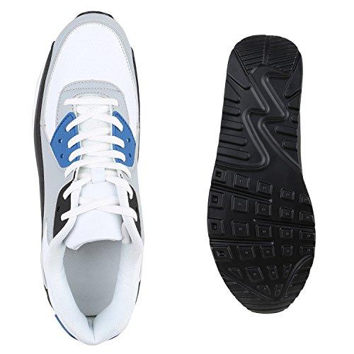 Herren Sportschuhe Leder-Optik | Sneakers Velours Glitzer | Metallic Runners | Freizeitschuhe Schnürer Weiss Schwarz Blau