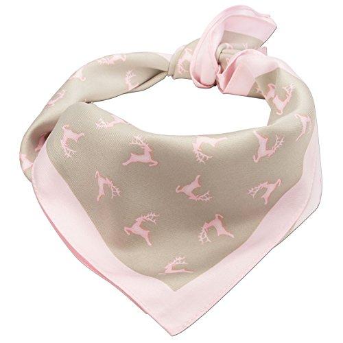 Alpenflüstern Damen Trachten-Nickituch Springende Hirsche ATX03700029 rosa-braun