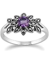 MISIS Artificialia Women/'s Ring 925 Silver Marcasite AN03200BL gold Sapphire M