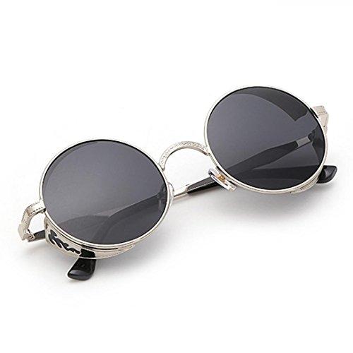Ularma Unisex Retro Rund Sonnenbrille Motorrad Vintage Geschnitzte Metallrahmen Brille (Dunkelgrau)