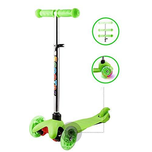 Hiriyt Kinderscooter Kinderroller 3 Räder mit PU Leuchträdern und Verstellbare Lenker für für Mädchen Junge (Grün_2)
