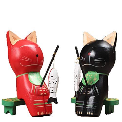 FLAMEER 2pcs Figurines de Chats en Bois Sculptures Pêche Artisanat
