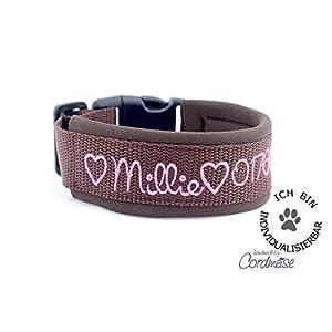 Hund&Hals – Halsband 1.0 – Handmade Hundehalsband aus Gurtband mit Neopren mit Namen individuell personalisiert, große Farbauswahl, Größenauswahl, Schriftarten,
