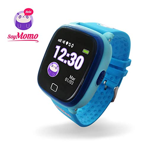 SoyMomo H2O Telefono pequeño y seguro para niños con GPS. (Azul)