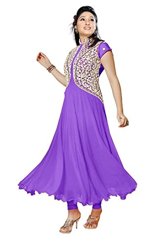 Dress Materials For Girls Party Wear ( Vibes Women`s Georgette Anarkali Style Unstiched Dress Material )