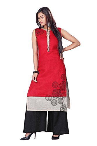 Payal Red Jute Straight Suit For Womens