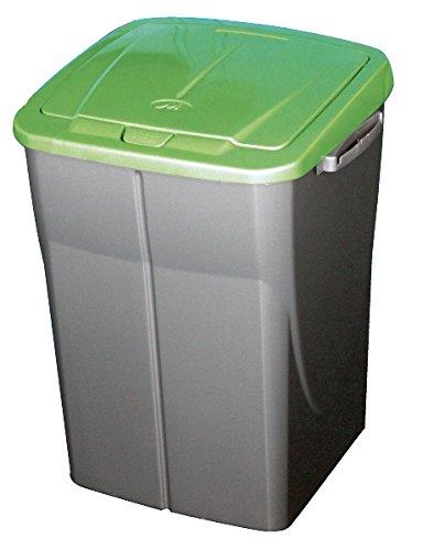 mondex consumo PLS 8087-19 Roll Top-Cubo de basura de reciclaje de cocina con tapa de plástico 36 x 36,5 x 51 cm, 45 L, plástico, verde, 45 L