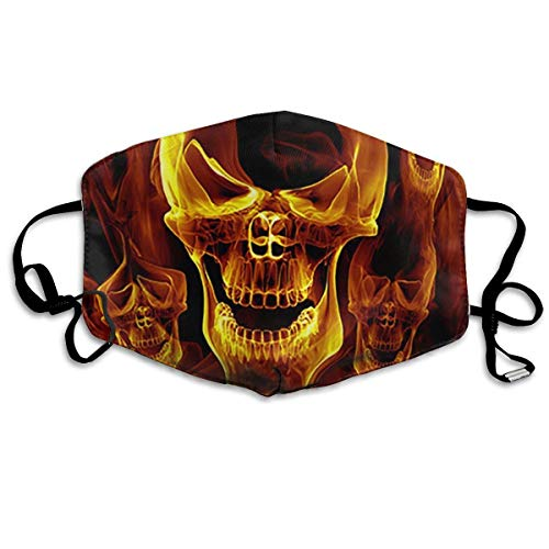Red Burnning Flame Skeleton Skull Head PM 2.5 Anti Pollution Mask Military Washable Dust Respirator Cotton Mouth Masks with (Red Head Figur)
