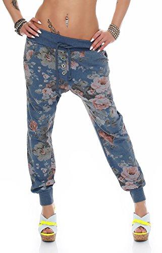 zarmexx Baggy-Pantalones deportivos para mujer pantalones Boyfriend Ocio Pantalones Harén Pantalones Pantalones de deporte con flor de impresión azul vaquero 38,40,42
