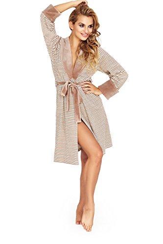 Damen Weich Knielange Baumwolle Bademantel, Luxus mit Kapuze Bademantel Beige