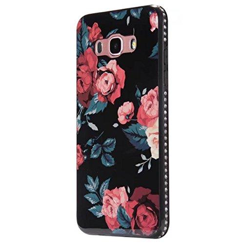 Blumen Muster Bling Sparkle Glitter Rhinestone Resin Diamant Schützende Rückseite Cover Case Schwarz Soft TPU Shell Stoßfänger [Shock Absorbtion] für Samsung Galaxy J510 (J5 2016) ( Color : B ) F