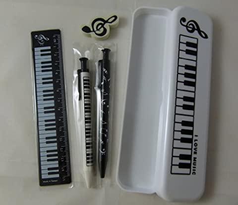 Music Themed White Pencil Case Stationery Set