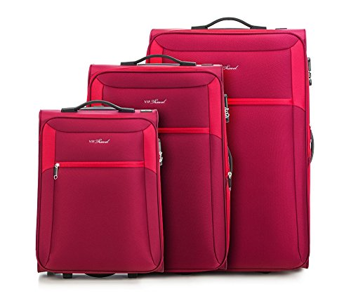 WITTCHEN Koffer - Weich | 73x47x33cm, 96 L, 7.6 KG | Material: Polyester, Rot | Kollektion: VIP COLLECTION - v25-3S-23S-33