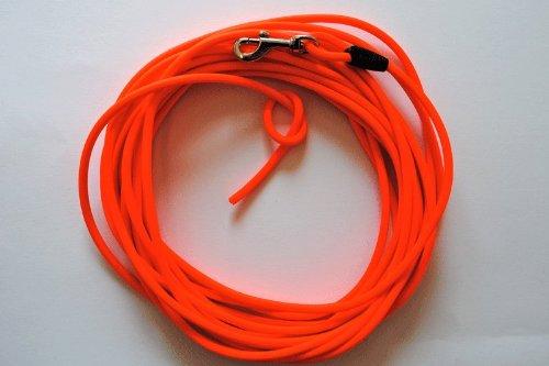 hundeinfo24.de 10 Meter Schleppleine Orange aus runder Biothane 8 mm Durchmesser(coated rope)