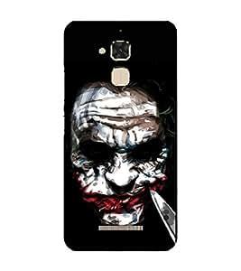 Takkloo Joker ( villian, white painted face, red lips, black coloured eyes, man holding knife) Printed Designer Back Case Cover for Asus Zenfone 3 Max ZC520TL (5.2 Inches)