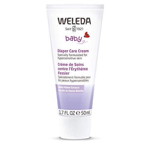 WELEDA Weisse Malve Babycreme, Naturkosmetik Hautcreme für den Schutz und die Regeneration von gereizter Babyhaut, Heilsalbe für die Pflege des Windelbereich (1 x 50ml) - Zink Feuchtigkeitscreme