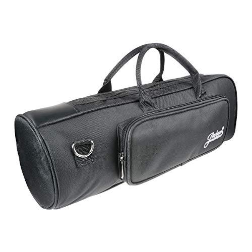 Trompetenkoffer für Senior, strapazierfähig, weiches Nylon, gepolstert, tragbares Instrumenten-Zubehör mit Doppelreißverschluss und verstellbarem Schultergurt, Schwarz -