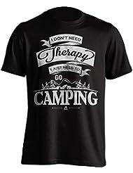 """Funny Camping camiseta """"I no necesita Terapia, I Just Need To Go Camping"""" Camping–Camiseta de Idea de regalo para Dad, Brother, Uncle o para un amigo en cualquier ocasión. Regalo de cumpleaños, Regalo del día de padre y regalo de Navidad..., color negro, tamaño L"""