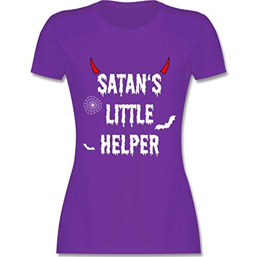 Halloween für Erwachsene - Satan's Little Helper - Halloween - Teufel - Hörner - Fledermaus - S - Lila - L191 - - Tailliertes Premium Frauen Damen T-Shirt mit Rundhalsausschnitt